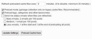 قابلیت Preload در پلاگین WP Super Cache
